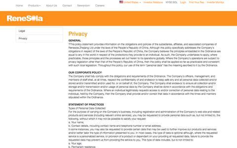 Screenshot of Privacy Page renesola.com - RENESOLA us - captured Aug. 30, 2016