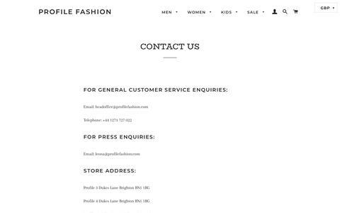 Screenshot of Contact Page profilefashion.com - CONTACT US – Profile Fashion - captured Feb. 25, 2020
