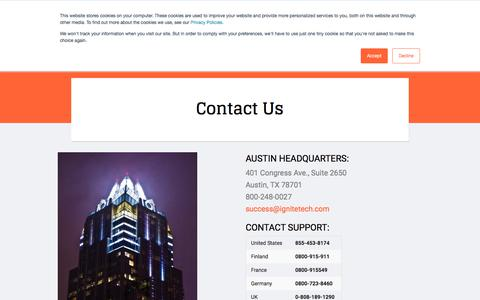 Screenshot of Contact Page ignitetech.com - Ignite Technologies :: Contact Us - captured June 7, 2018