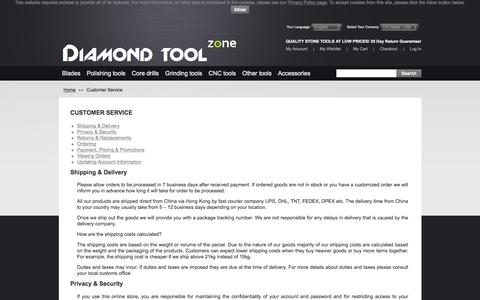 Screenshot of Support Page diamondtoolzone.com - Customer Service - captured Feb. 2, 2018