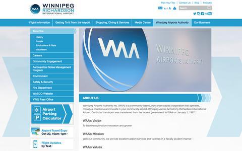 Screenshot of About Page waa.ca - About Us | Winnipeg James Armstrong Richardson International Airport - captured Oct. 18, 2018