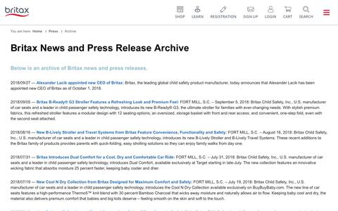 Screenshot of Press Page britax.com - Britax News and Press Release Archive - captured Oct. 3, 2018