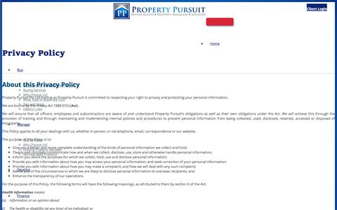 Screenshot of Privacy Page propertypursuit.com.au - Privacy Policy - captured July 24, 2018
