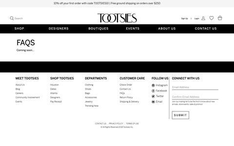 Screenshot of FAQ Page tootsies.com - Faqs | Tootsies - captured Oct. 19, 2018