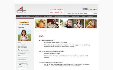 Screenshot of FAQ Page terminal4pets.com - FAQ - captured Oct. 29, 2014