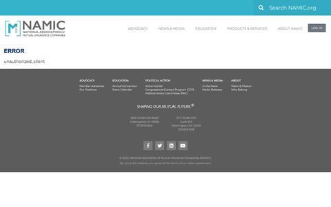 Screenshot of Login Page namic.org - Error - Namic - captured Jan. 6, 2020