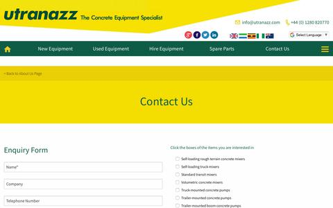 Screenshot of Contact Page utranazz.com - Contact Us | Concrete Equipment Specialist | Utranazz - captured Sept. 20, 2018
