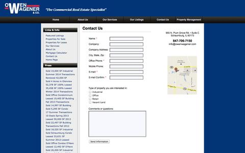 Screenshot of Landing Page owenwagener.com - Contact Owen Wagener & Co. - captured Oct. 27, 2014