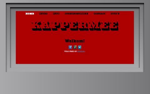 Screenshot of Home Page kappermee.nl - KAPPERMEE | Hoofddorpleinbuurt | Amsterdam | 020 - 6176 176 - captured Sept. 30, 2014