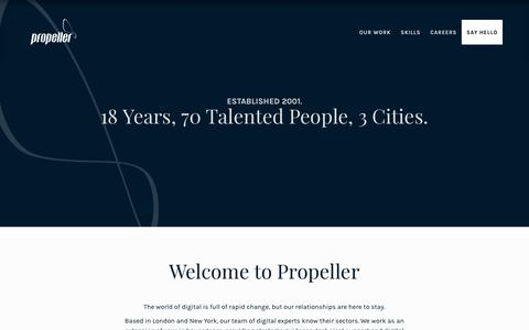 Screenshot of About Page propeller.co.uk - About Propeller | London Digital Marketing Agency - captured July 12, 2019
