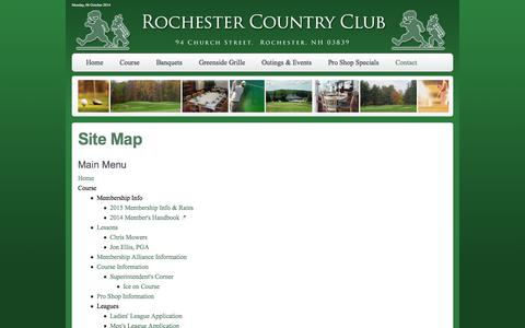Screenshot of Site Map Page rochestercc.com - Rochester Country Club - A Public Golf Course in Rochester, New Hampshire - Site Map - captured Oct. 6, 2014