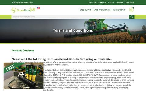Screenshot of Terms Page greenfarmparts.com - Green Farm Parts Online StoreTerms - captured July 24, 2018