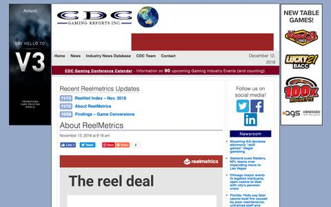 Screenshot of About Page cdcgamingreports.com - About ReelMetrics - captured Dec. 12, 2018