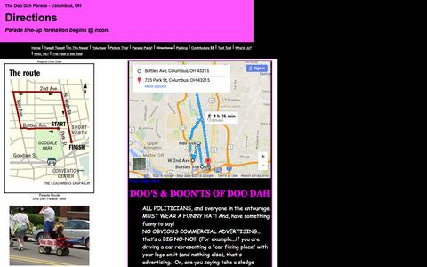 Screenshot of Maps & Directions Page doodahparade.com - Directions - captured March 11, 2016