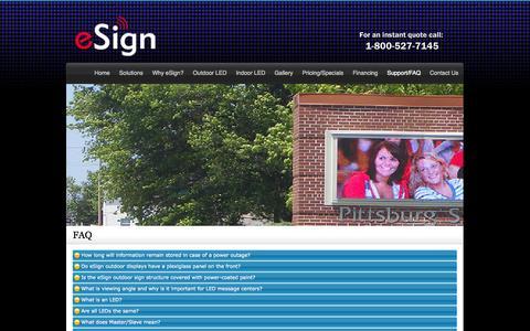 Screenshot of FAQ Page esignled.com - FAQ - captured Sept. 30, 2014