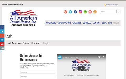 Screenshot of Login Page allamericandreamhomes.com - Login - All American Dream HomesAll American Dream Homes - captured Dec. 18, 2018