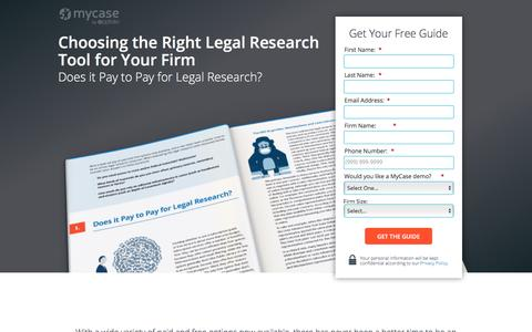 Screenshot of Landing Page mycase.com - Choosing the Right Legal Research Tool for Your Firm :: MyCase Legal Resources - captured May 17, 2017