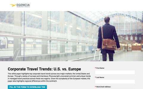 Screenshot of Landing Page egencia.com - Corporate Travel Trends: US vs. EU - captured Oct. 23, 2017