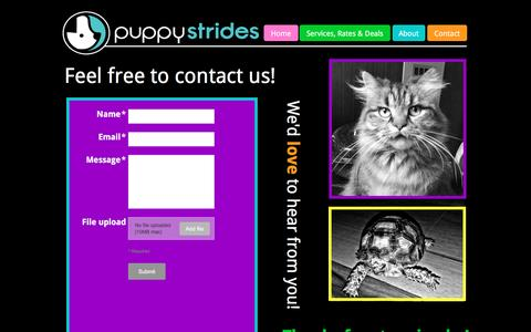 Screenshot of Contact Page puppystrides.com - Affordable Pet Sitting & Dog Walking, PuppyStrides (Bloomington-Normal, IL) - captured Dec. 14, 2015