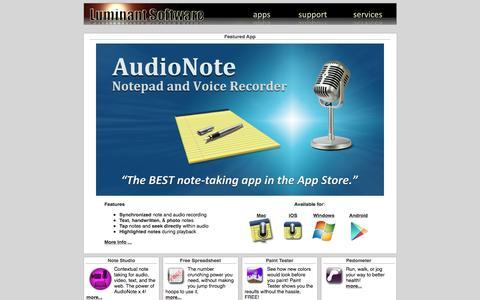 Screenshot of Home Page luminantsoftware.com - Luminant Software, Inc. - captured Dec. 14, 2015