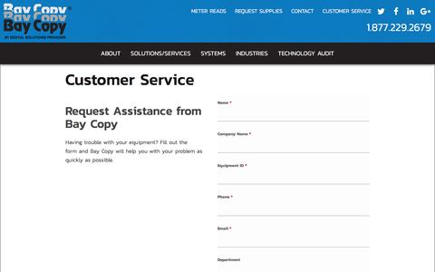 Screenshot of Support Page baycopy.com - Customer Service | Bay Copy - captured Oct. 10, 2017