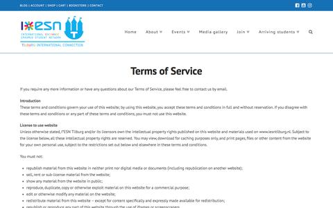 Screenshot of Terms Page iesntilburg.nl - Terms of Service - I*ESN Tilburg - captured May 25, 2017