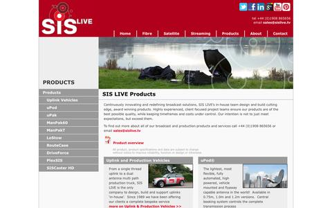 Screenshot of Products Page sislive.tv - SIS Live for Satellite Uplink & Production Vehicles, Portable Satellites and More - captured Sept. 30, 2014