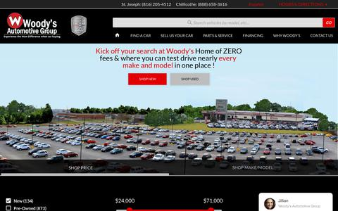 Screenshot of Home Page wowwoodys.com - WOODY's AUTOMOTIVE GROUP - Chrysler, Dodge, RAM, Jeep Dealers Kansas City, Chillicothe, Columbia, Trenton, Kirksville, MO, New & Used Cars - captured Jan. 20, 2018