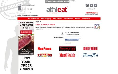 Screenshot of Login Page athleat.co.uk - Buy high quality grass fed beef, Scottish Lamb and free range poultry specially selected for professional athletes and crossfit athletes. Buy online and get your Scottish meat box delivered fresh to your door in 48 hours! - captured Oct. 4, 2014