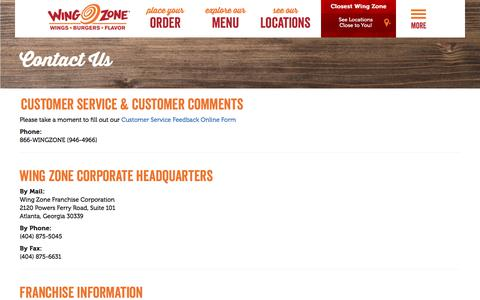 Screenshot of Contact Page wingzone.com - Contact Us | Wing Zone | We Deliver Amazing Flavor - captured Oct. 21, 2017