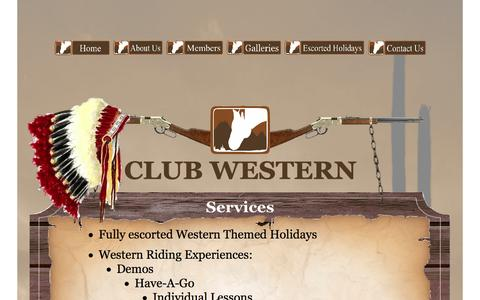 Screenshot of Services Page clubwestern.com - Services - captured Oct. 2, 2014