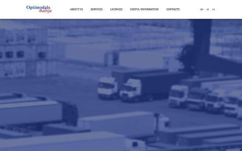 Screenshot of Home Page optimodals.com - Optimodals Baltija - captured Oct. 7, 2014