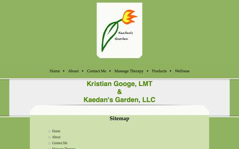Screenshot of Site Map Page kaedansgarden.com - Home - Kaedan's Garden, LLC - captured Sept. 30, 2014
