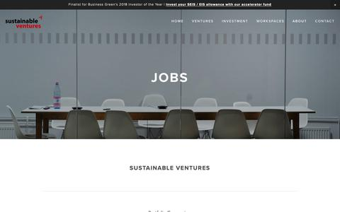 Screenshot of Jobs Page sustainableventures.co.uk - Jobs — Sustainable Ventures - captured Oct. 18, 2018