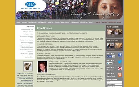 Screenshot of Case Studies Page arthistoryabroad.com - Case Studies - Art History Abroad - captured Sept. 30, 2014