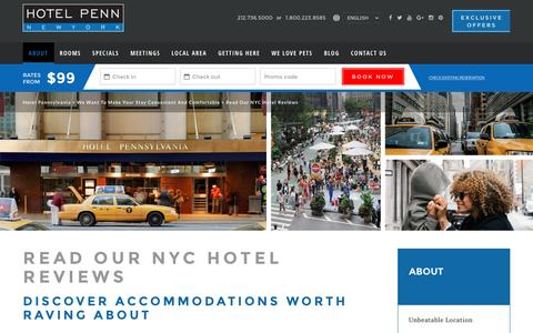 Screenshot of Testimonials Page hotelpenn.com - Read Our NYC Hotel Reviews | Hotel Pennsylvania - captured Oct. 28, 2016