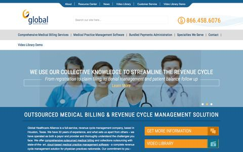 Screenshot of Home Page globalhca.com - Outsourced Medical Billing - Revenue Cycle Management Solution - Global Healthcare Alliance - captured Jan. 29, 2016
