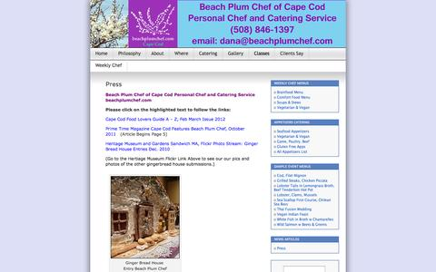 Screenshot of Press Page beachplumchef.com - Press | Beach Plum Chef of Cape Cod Personal Chef and Event Services - captured Oct. 5, 2014
