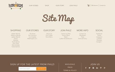 Screenshot of Site Map Page philzcoffee.com captured April 4, 2016