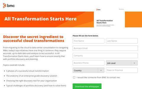 Screenshot of Landing Page bmc.com - All Transformation Starts Here - BMC Software - captured Dec. 14, 2019