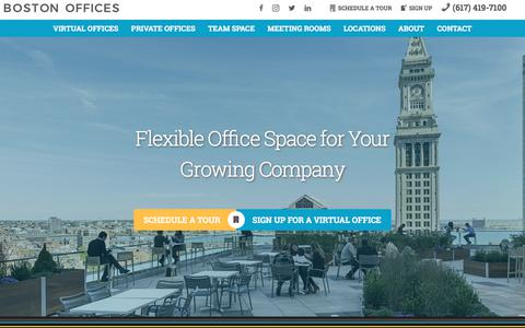 Screenshot of Home Page bostonoffices.com - Virtual & Private Office Space For Rent, Conference & Meeting Rooms   Boston Offices, MA - captured Aug. 3, 2018