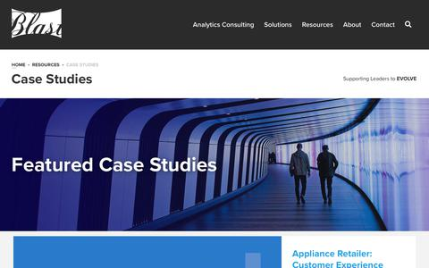 Screenshot of Case Studies Page blastam.com - Analytics, Testing & Marketing Case Studies | Blast - captured Jan. 7, 2020