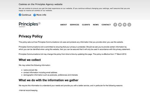 Screenshot of Privacy Page principlesagency.co.uk - Privacy Policy —  Principles Agency - captured Oct. 28, 2014
