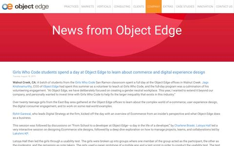 Screenshot of Press Page objectedge.com - Oracle ATG Web Commerce Consulting & Services | News | Object Edge - captured Feb. 21, 2016