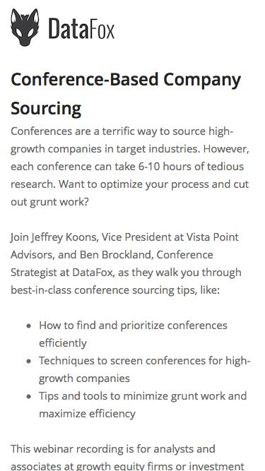 Screenshot of Landing Page  datafox.com - Conference-Based Company Sourcing