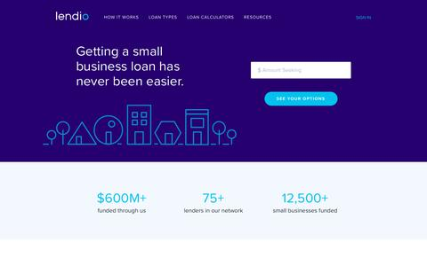 Screenshot of Home Page lendio.com - Simple Small Business Loans | Lendio - captured Dec. 10, 2017