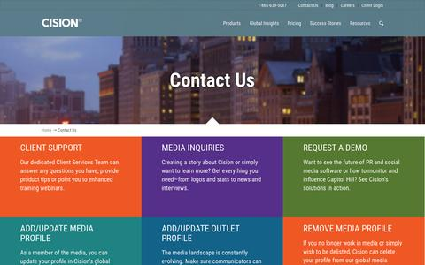 Screenshot of Contact Page cision.com - Contact Us | Cision - captured Oct. 20, 2015