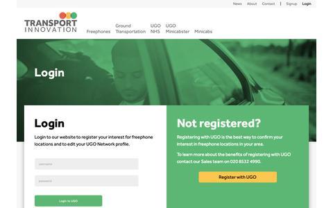 Screenshot of Login Page transportinnovation.co.uk - Login to UGO | Transport Innovation - captured Oct. 20, 2018
