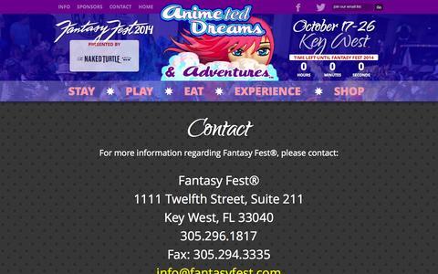 Screenshot of Contact Page fantasyfest.com - Official Fantasy Fest Website - Key West, Florida - captured Oct. 31, 2014