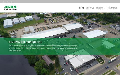 Screenshot of Home Page agraind.com - Agricultural Construction Company | AGRA Industries - captured April 9, 2019